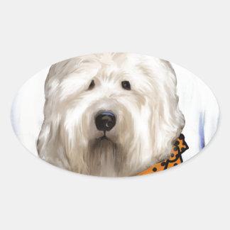 Sticker Ovale Vieux chien de moutons anglais