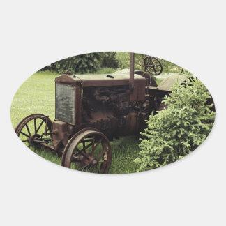 Sticker Ovale VIEUX tracteur
