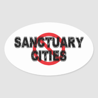 Sticker Ovale Villes de sanctuaire d'interdiction