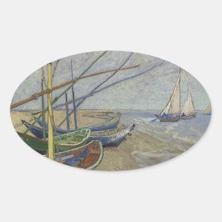 Sticker Ovale Vincent van Gogh - bateaux de pêche sur Saintes