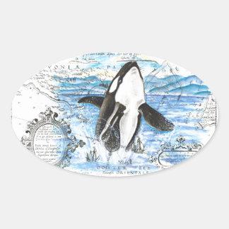 Sticker Ovale Violation de la carte antique d'orque