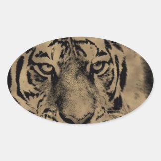Sticker Ovale Visage de tigre