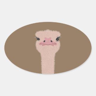 Sticker Ovale Visage drôle d'autruche
