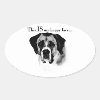 Sticker Ovale Visage heureux de St Bernard