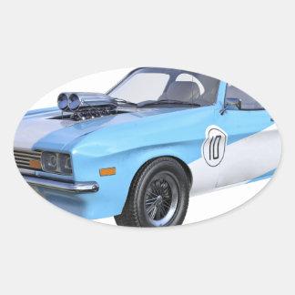 Sticker Ovale voiture de muscle des années 70 dans bleu et blanc