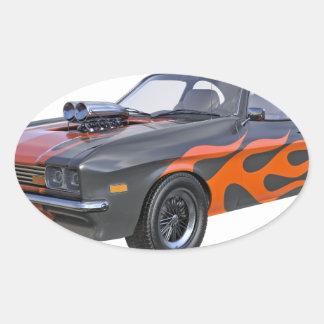 Sticker Ovale voiture de muscle des années 70 dans les flammes