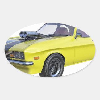 Sticker Ovale voiture de muscle des années 70 en jaune et noir