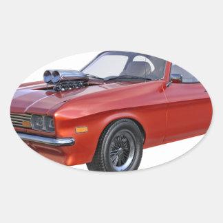 Sticker Ovale voiture de muscle des années 70 en rouge