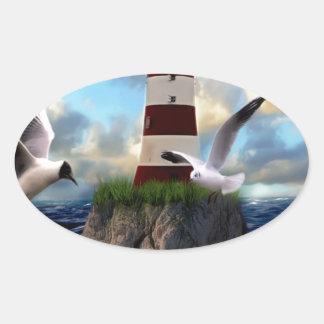 Sticker Ovale Voler d'oiseaux de phare