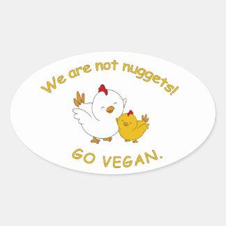 Sticker Ovale Vont le végétalien - poussin mignon