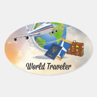 Sticker Ovale Voyageur du monde, conception 2