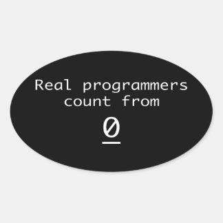 Sticker Ovale Vrai compte de programmeurs de 0