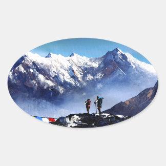 Sticker Ovale Vue panoramique de montagne maximale d'Ama Dablam