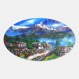 Sticker Ovale Vue panoramique de montagne Népal d'Everest
