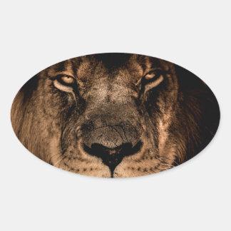 Sticker Ovale yeux africains de fin de crinière de lion