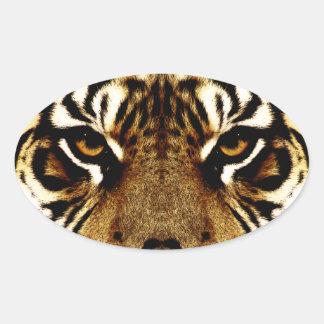 Sticker Ovale Yeux d'un tigre