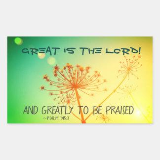 Sticker Rectangulaire 145:3 de psaume considérablement à féliciter, vers