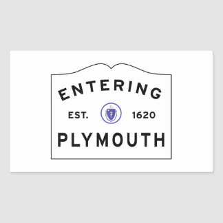 Sticker Rectangulaire Accueillez au signe de ville de Plymouth mA