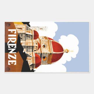 Sticker Rectangulaire Affiche 1930 de voyage de Duomo de Florence Italie