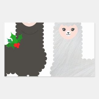 Sticker Rectangulaire alpaga de renne de Noël