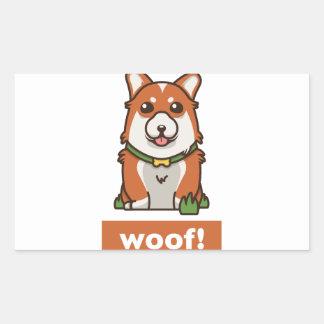 Sticker Rectangulaire Amant mignon de chien de corgi de Gallois de