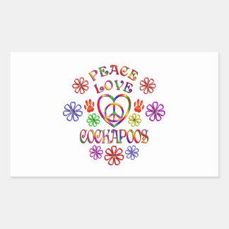 Sticker Rectangulaire Amour Cockapoos de paix