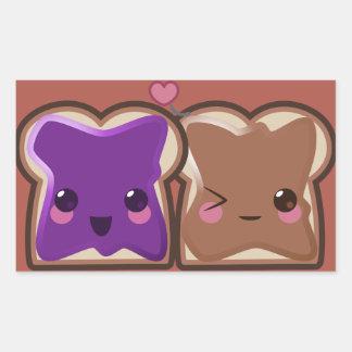 Sticker Rectangulaire Amour de beurre et de gelée d'arachide