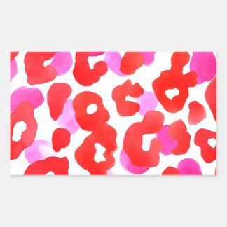 Sticker Rectangulaire Amour sauvage de rouge d'ethno de jaguar