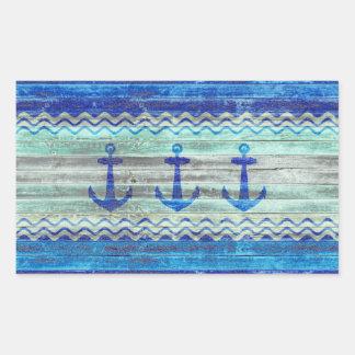 Sticker Rectangulaire Ancres rustiques de bleu marine