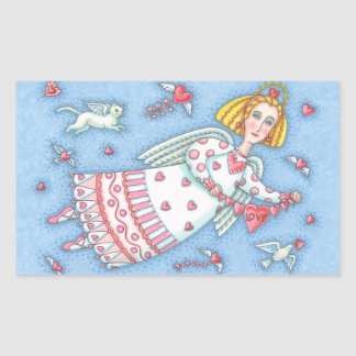 Sticker Rectangulaire ANGE FOLKLORIQUE de feuille d'AUTOCOLLANT de