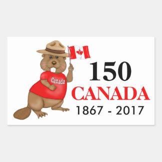 Sticker Rectangulaire Anniversaire fièrement canadien du castor 150