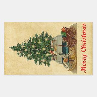 Sticker Rectangulaire arbre et jouets de Noël vintage