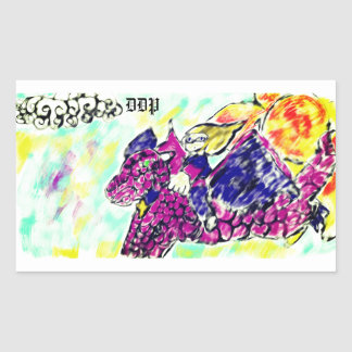 Sticker Rectangulaire art 2 de dragon de vol