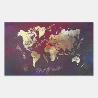 Sticker Rectangulaire art de carte du monde