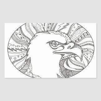 Sticker Rectangulaire Art de griffonnage de tête d'Eagle chauve