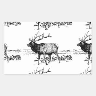Sticker Rectangulaire art de troupeau d'élans ouais