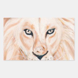 Sticker Rectangulaire Art fort d'huile de portrait de lion