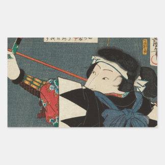 Sticker Rectangulaire Art vintage classique d'Ukiyo-e Kyudo Archer