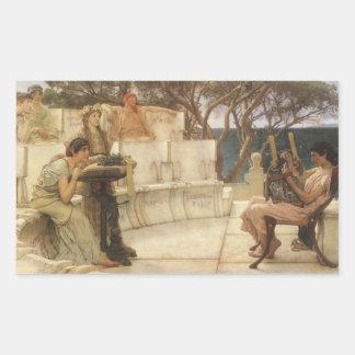 Sticker Rectangulaire Art vintage, Sappho et Alcaeus par Alma Tadema