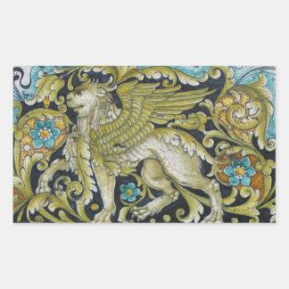 Sticker Rectangulaire Autocollants--Lion de tuile de Deruta