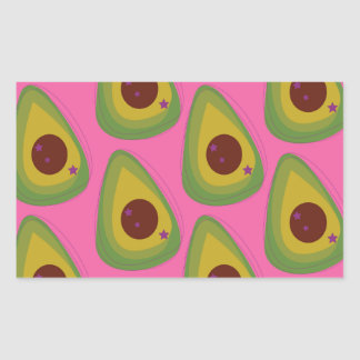 Sticker Rectangulaire Avocats de conception sur le rose