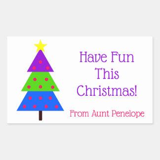 Sticker Rectangulaire Ayez l'amusement que cet arbre de Noël a