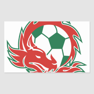 Sticker Rectangulaire Ballon de football de dragon de Gallois
