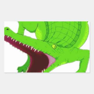 Sticker Rectangulaire bande dessinée d'alligator