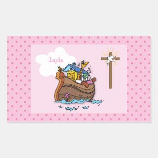 Sticker Rectangulaire Baptême de bébé de l'arche de Noé personnalisable,