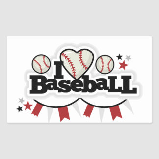 Sticker Rectangulaire Base-ball d'amour du rectangle Stickers/I