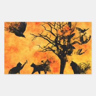 Sticker Rectangulaire Battes effrayantes Ravens de chats de noir de la