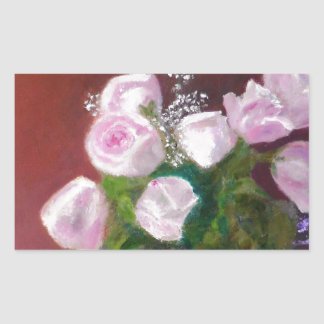 Sticker Rectangulaire Beaux roses roses