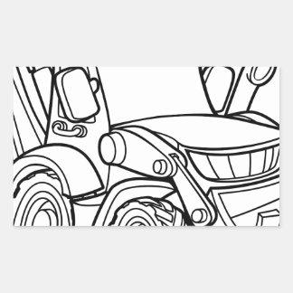 Sticker Rectangulaire Bêcheur de bouteur de véhicule de bande dessinée