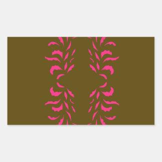 Sticker Rectangulaire Beige de rose de conceptions de mandalas
